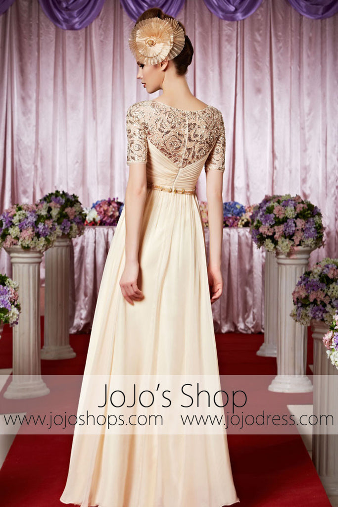 Modest Short Sleeves Lace Champagne Elegant Prom Formal Evening Dress CX830333