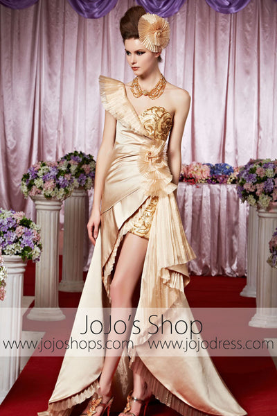 Grecian Gold Hi Low Glamorous Goddess Elegant Prom Formal Evening Dress CX830350