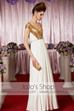 Gold Grecian White Goddess V Neck Elegant Prom Formal Evening Dress CX830362