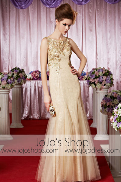 Boat Neck Keyhole Back Champagne Gold Elegant Prom Formal Evening Dress CX830368