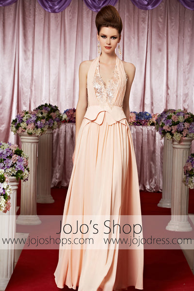 Retro Vintage Hollywood Halter Pink Elegant Prom Formal Evening Dress CX830369