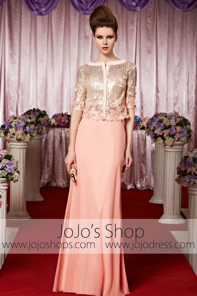 Pink Modest Long Sleeves Shimmery Elegant Prom Formal Evening Dress CX830386