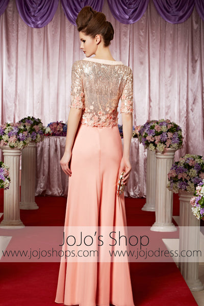 peach pink modest long sleeves shimmery elegant prom