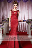 Red Mermaid Keyhole Glamarous Elegant Prom Formal Evening Dress CX830388