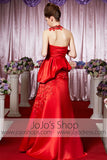 Red Modest Round Neck Glamarous Elegant Prom Formal Evening Dress CX830395