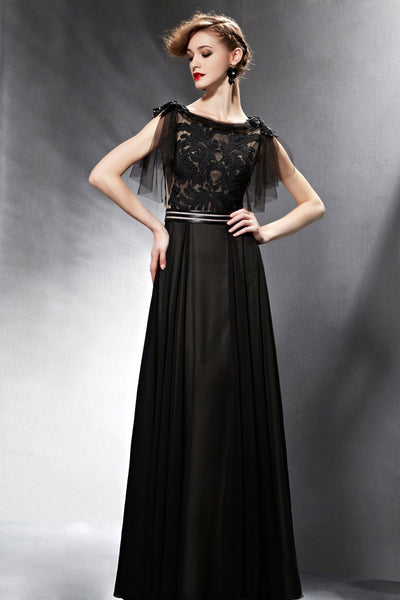 Black Modest Short Sleeves Evening Dress with Sleeves