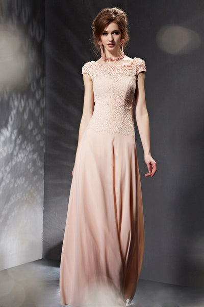 Elegant Modest Pink Floral Prom Dress Formal Dress
