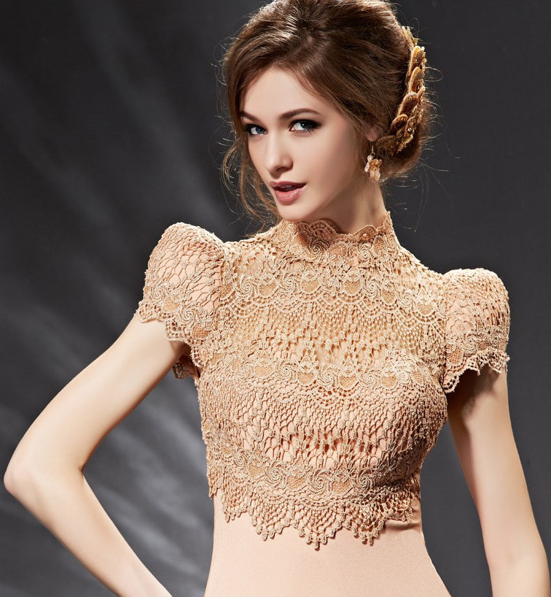 Modest Vintage Lace Formal Evening Prom Dress Victorian Style