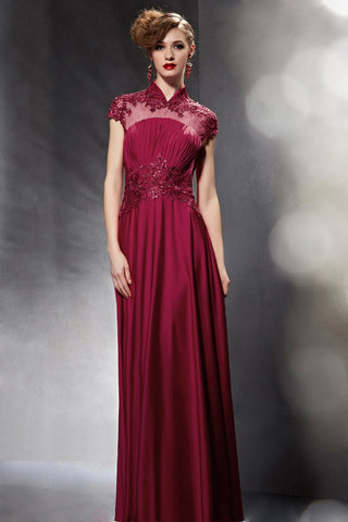 Burgundy Mandarin Collar Modest Lace Formal Evening Dress