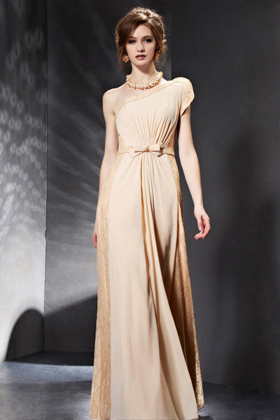 Champagne One Shoulder Grecian Evening Dress Prom Dress