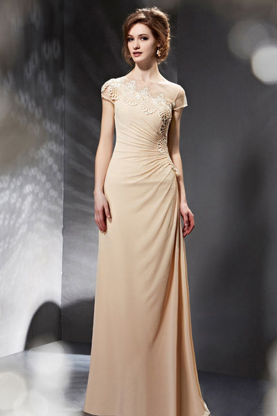 Champagne Asymmetrical Grecian Modest Formal Prom Evening Dress with Short Sleeves