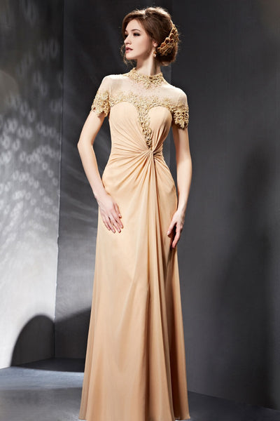 Champagne Modest Lace Formal Prom Evening Dress with Sleeves