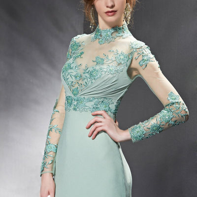 Modest Sage Green Lace Long Sleeves Formal Prom Evening Dress