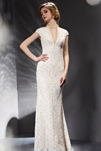 Ivory Vintage Lace Red Carpet Pageant Formal Evening Dress