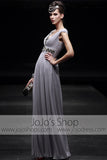 Grecian V Neck Silver Gray Jeweled Formal Prom Home Coming Pageant Dress