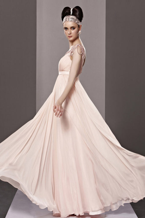 Blush Pink Short Sleeve Princess Beauty Pageant Prom Dress CX881209