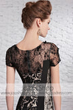 Black Lace Celebrity Red Carpet Short Sleeves Evening Formal Dress CX881612