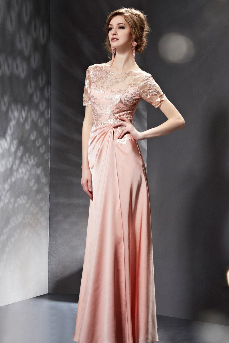Modest Pink Lace 3/4 Sleeves Formal Prom Evening Dress