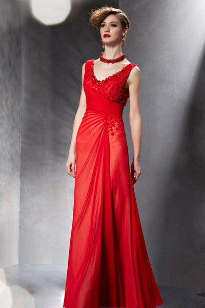 Elegant Red V Neck Formal Prom Evening Dress