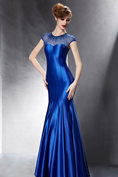 Modest Royal Blue Sparkly Formal Pageant Dress with Jewel Neck