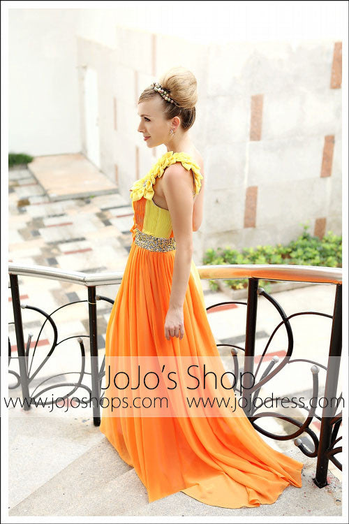 Grecian Orange Yellow One Shoulder Prom Formal Evening Dress DQ830213