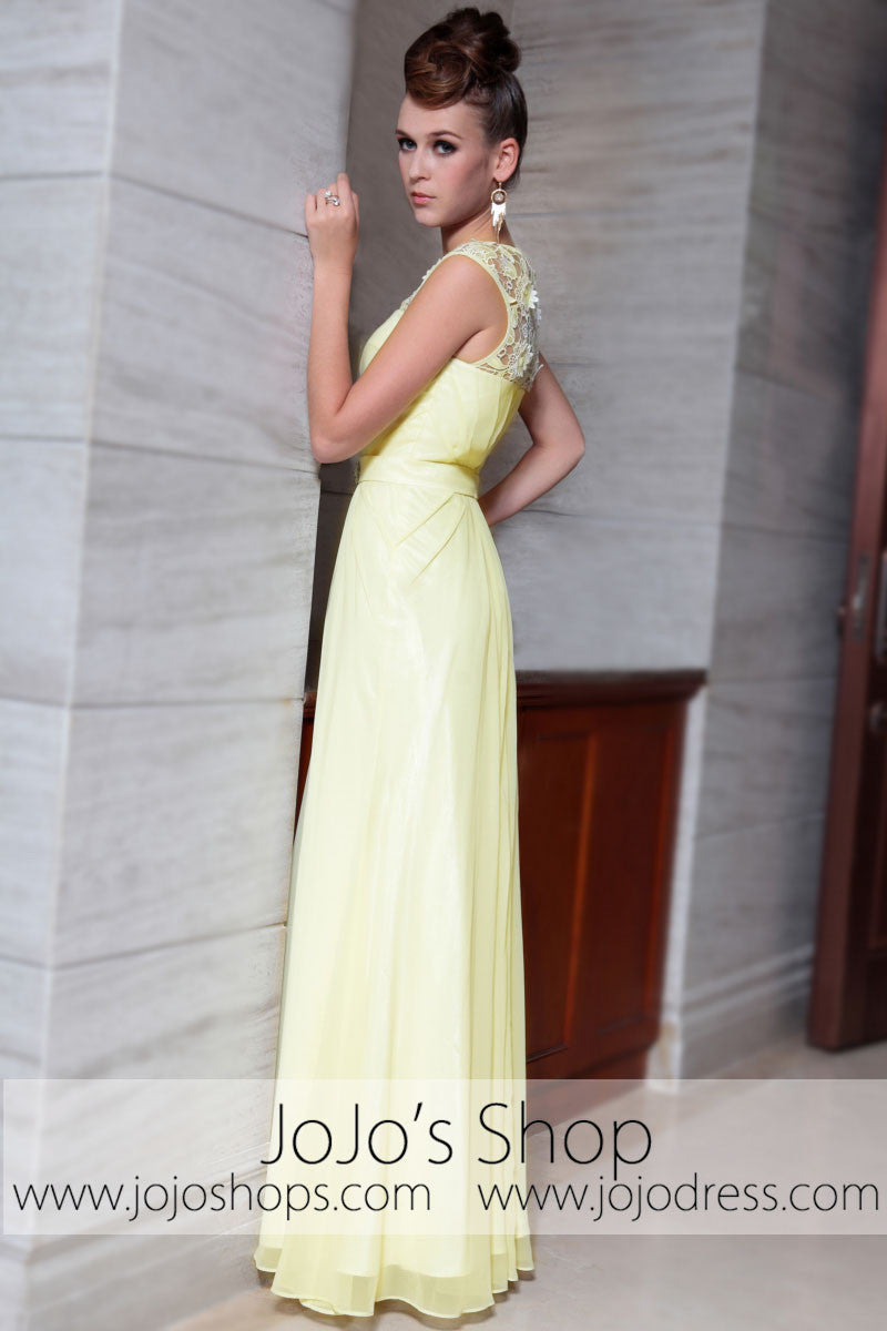 d878a4a23aa Yellow Grecian Jeweled Neck Modest Graduation Evening Formal Dress DQ830825