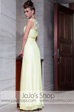 Yellow Grecian Jeweled Neck Modest Graduation Evening Formal Dress DQ830825