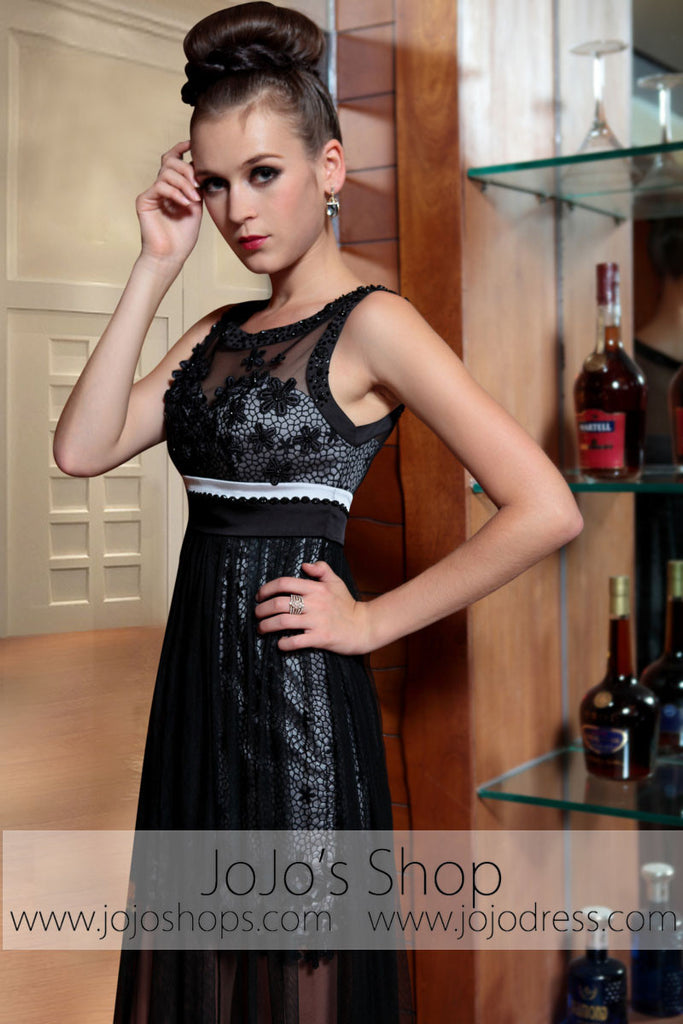 Black Mystic Sexy Transparent Jeweled Neck Prom Evening Formal Dress DQ830827