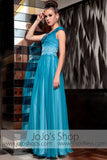 Ocean Blue Fish Scales V Neck Prom Evening Formal Dress DQ830829
