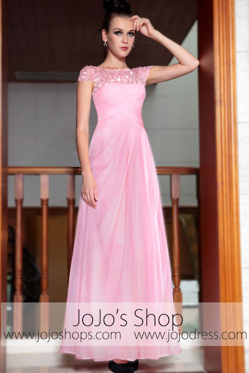 Pink Modest Cap Sleeves Chiffon Long Prom Evening Formal Dress DQ830842