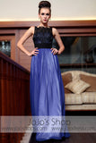 Blue Black Modest Sleeveless Prom Evening Formal Dress DQ830847