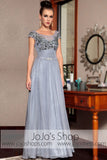 Gray Silver Cap Sleeves Modest Long Prom Evening Formal Dress DQ830852