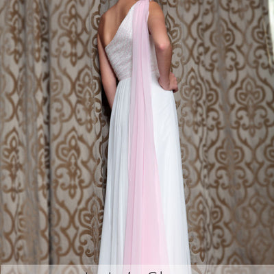Grecian Ivory Pink One Shoulder Airy Prom Evening Formal Dress DQ830858