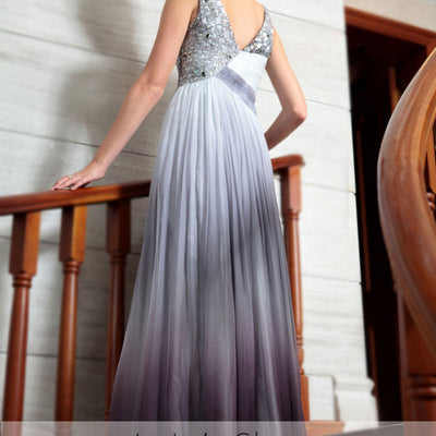 Grecian V Neck Gray Jeweled Prom Evening Formal Dress DQ830868