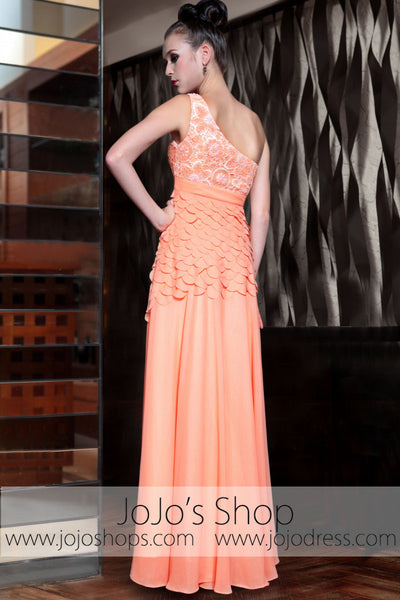 Grecian Orange One Shoulder Fish Scale Prom Evening Formal Dress DQ830873