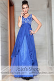 Blue Emboridered Scoop Neck Elegant Prom Evening Formal Dress DQ830875