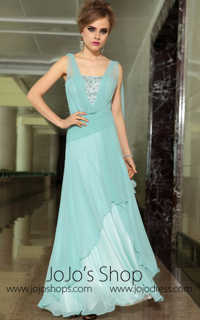 Pastel Blue Grecian Chiffon Formal Prom Evening Cocktail Dress