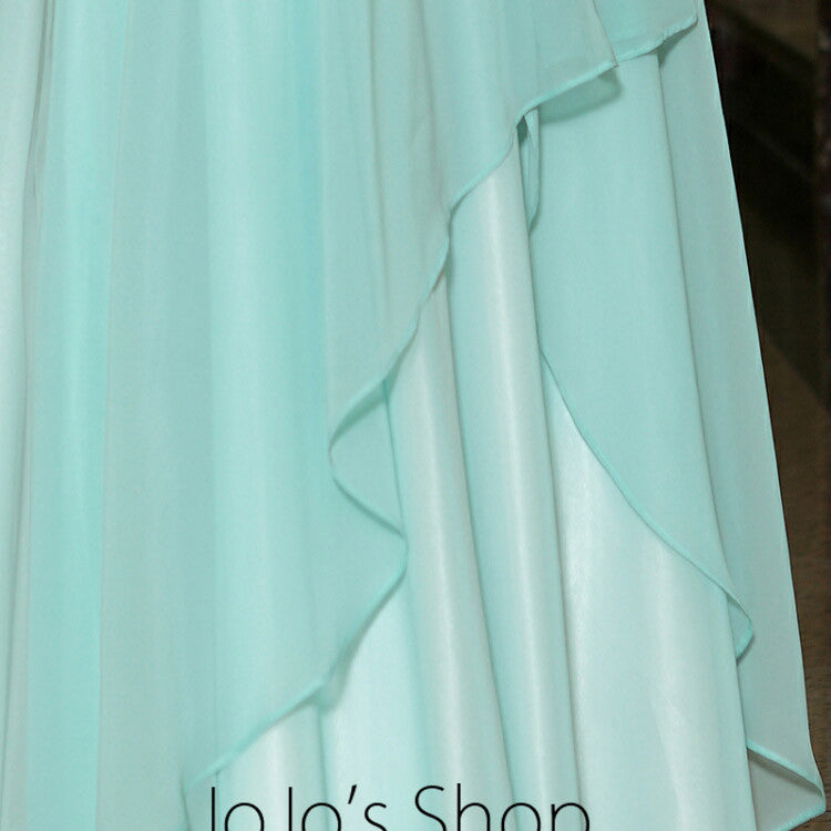 Pastel Blue Grecian Chiffon Formal Prom Evening Cocktail Dress DQ830877