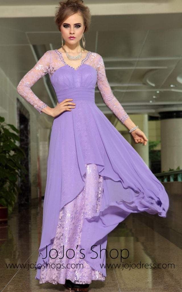 Grecian Purple Long Sleeves Formal V Neck Prom Evening Cocktail ...