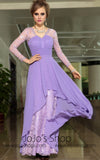 Grecian Purple Long Sleeves Formal V Neck Prom Evening Cocktail Dress DQ830879