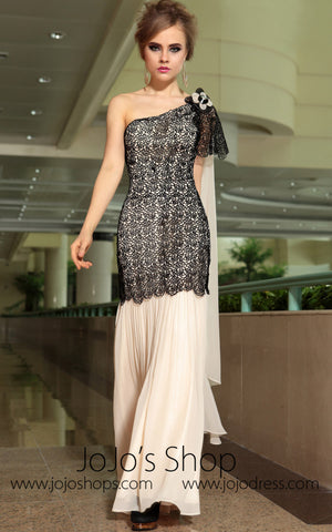 Retro Vintage One Shoulder Black Lace Formal Prom Evening Cocktail Dress DQ830880