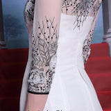 Elegant 3/4 Sleeve Ivory Chiffon Prom Dress DQ830883