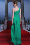 Grecian Green One Shoulder Prom Dress DQ830886