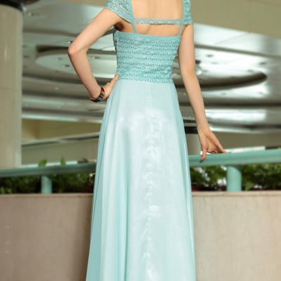 Grecian Elegant Pastel Green Cap Sleeves Formal Prom Evening Cocktail Dress DQ830888