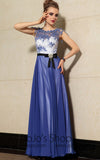 Elegant Blue Floral Jeweled Neck Formal Prom Evening Cocktail Dress DQ830889