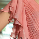 Pink Butterfly Sleeves Chiffon Ruffle Formal Prom Evening Cocktail Dress DQ830890