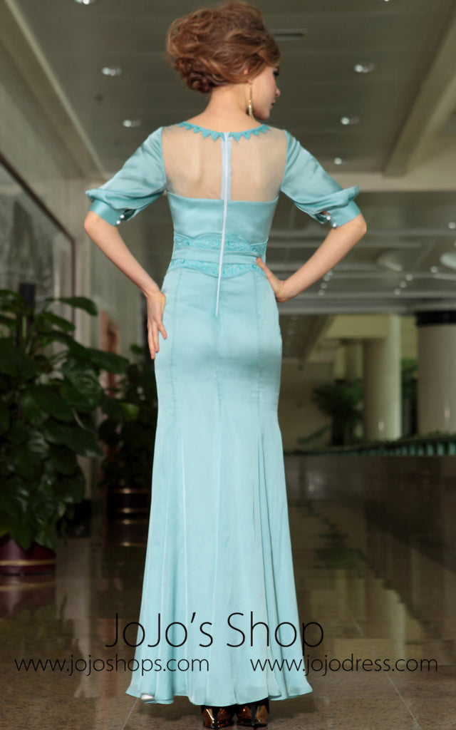 Modest Blue Quarter Sleeves Formal Prom Evening Cocktail Dress DQ830893