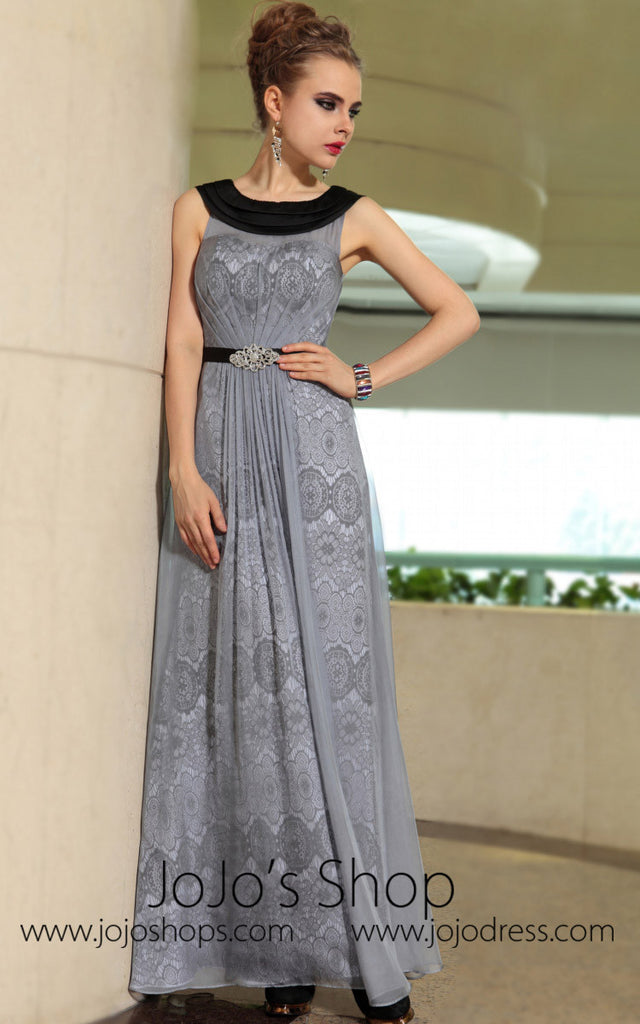 Grecian Gray Jewel Neck Modest Formal Prom Evening Cocktail Dress DQ830895