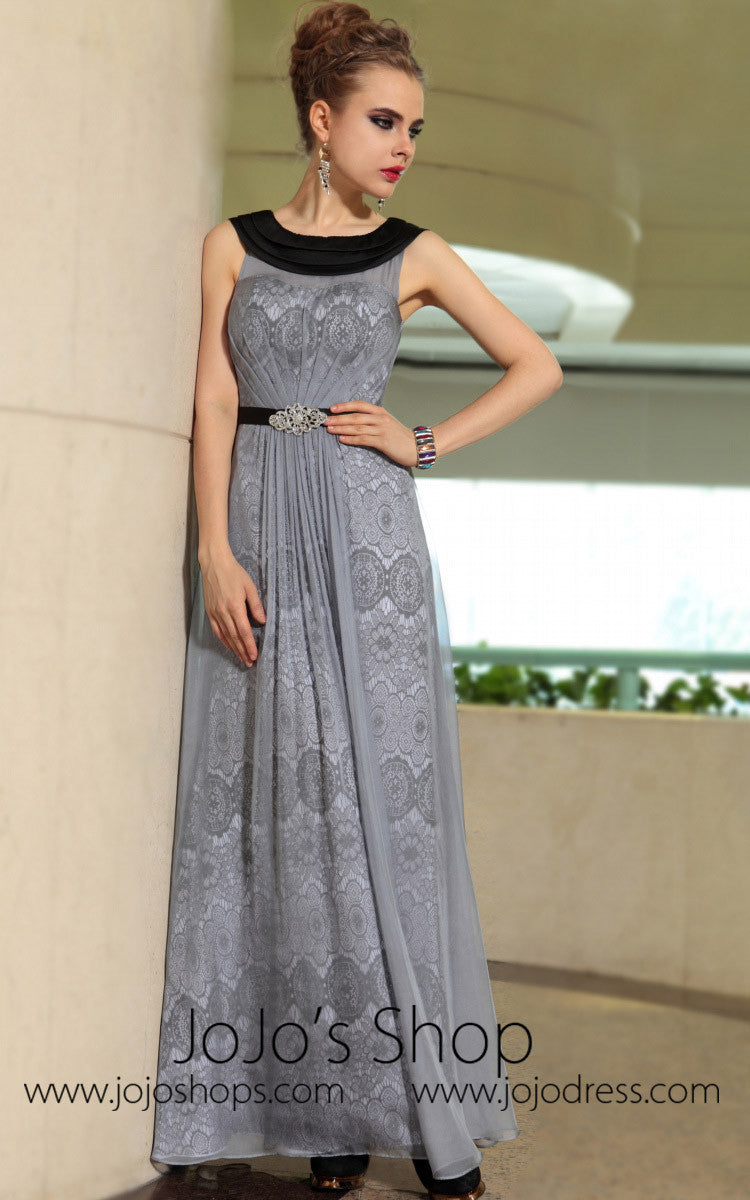 f56ea3eafbe Grecian Gray Jewel Neck Modest Formal Prom Evening Cocktail Dress DQ830895