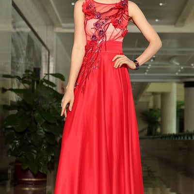 Grecian Red Jewel Neck Modest Chiffon Formal Prom Evening Cocktail Dress DQ830896